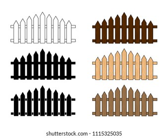 Wooden fence set.  Simple  design isolated on white background