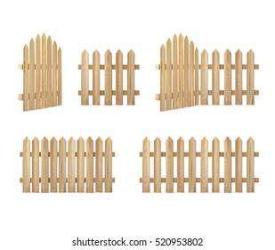 Wooden fence set - Vector illustration