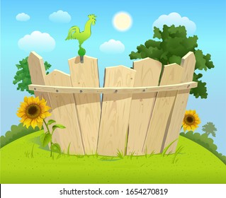 Wooden fence with sunflowers on a green lawn and blue sky with clouds on a sunny day. Sitting rooster on the fence. Summer glade with a wooden fence and grass. Isolated image. Vector illustration.