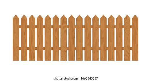 Wooden fence. Vector illustration isolated on white background