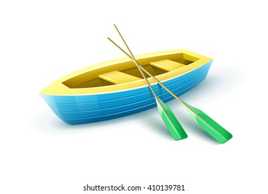 Wooden fisherman's boat from paddles for fishing or kayaking extreme sports and entertainment vector illustration. Fishing boat equipment icon