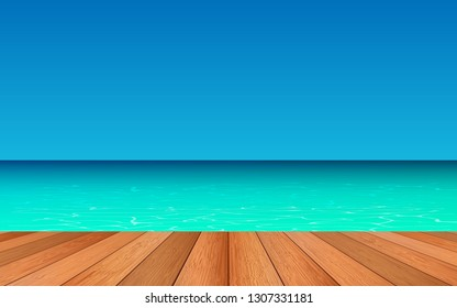 wooden floor on the beach