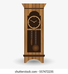 wooden floor pendulum clock vector object eps10