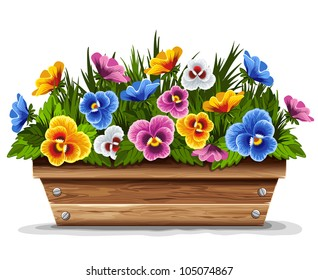 Wooden flower pot with multicolored pansies. Vector illustration.