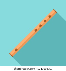 Wooden flute icon. Flat illustration of wooden flute vector icon for web design