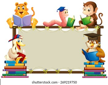 Wooden frame with animals reading books around it