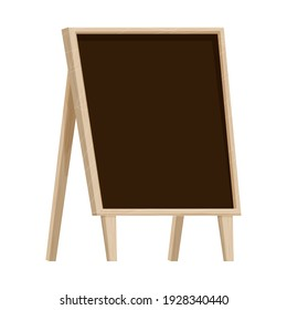 Wooden frame with chalkboard, empty design, textured and detailed in cartoon style isolated on white background stock vector illustration. Outdoor black board, advertising template, commercial stand.