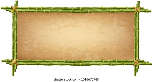 Wooden frame made of green bamboo sticks with higly detailed vintage paper blank or canvas. Worn papyrus template, old grungy poster with space for text. Vector clip art isolated on white background.