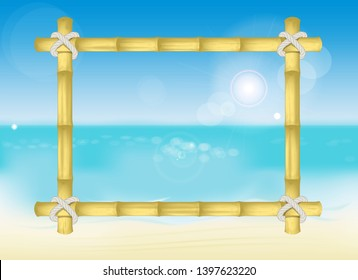 wooden frame made of yellow bamboo fastened with ropes on the background of hot summer sea beach