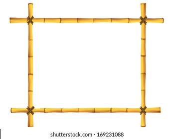 Moldura de madeira de varas de bambu antigas. Ilustração vetorial