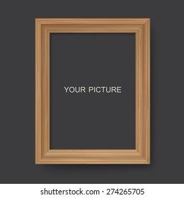 Wooden frame on a black background