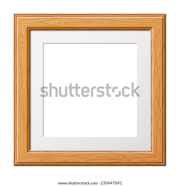 Wooden Frame for Photo or Pictures, isolated on white background. Vector Illustration.