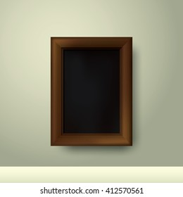 Wooden frame with place for text. Wooden rectangular 3d photo frame with shadow. Vector illustration
