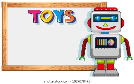 Wooden frame with robot toy illustration