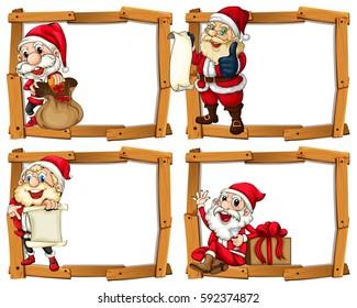 Wooden frame templates with Santa illustration