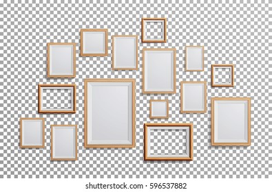 Wooden Frame Vector. Set Square, A3, A4 Sizes Light Wood Blank Picture Frame, Hanging. Realistic Photo Wall. On Transparent Background From The Front. Design Template For Mock Up.