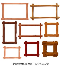 Wooden frames and borders cartoon vector design. Brown wood boards, old planks, tree branches and twigs with ropes and nails, vintage empty frames and borders, interior design themes