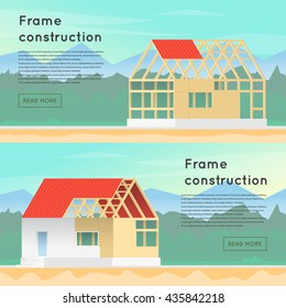 Wooden framework construction. House in building process. Structure. Banners. Flat design vector illustration.