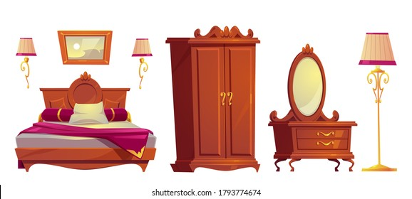 Wooden furniture for old luxury bedroom isolated on white background. Vector cartoon set of vintage bed with pink cover, wardrobe, golden lamps and dressing table with mirror