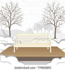 Wooden garden bench on platform, winter snow covered landscape with bare trees and snow banks.