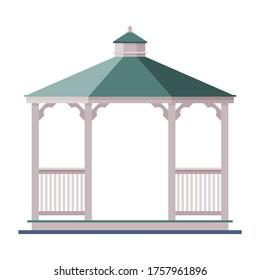 Wooden Garden or Park Gazebo, Urban Infrastructure Design Element, Flat Style Vector Illustration on White Background