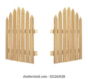 Wooden gate on white background - vector illustration.