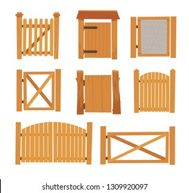 Wooden Gate Set. Different Designs of Village Gates made of Wooden Boards and Iron Mesh. Cartoon Style Vector Illustration