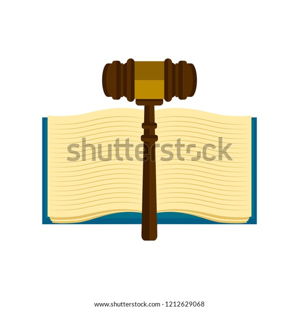 Wooden Gavel Book Icon Vector Illustration Stock Vector Royalty