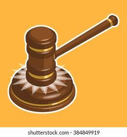 Wooden glossy judge gavel hit. Isometric vector illustration