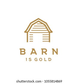 Wooden Gold Barn Farm Minimalist Vintage Retro Golden Line Art Logo design inspiration