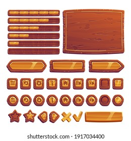 Wooden and gold buttons for ui game, gui elements isolated on white background. Vector cartoon kit of brown banners, golden menu buttons in wood frame, arrows and progress bar for mobile game