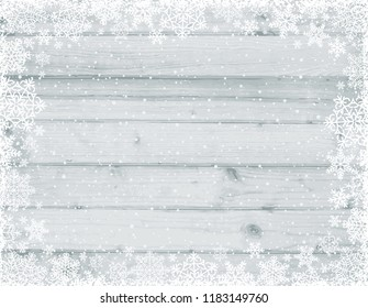 Wooden grey christmas background with frame of white snowflakes, vector illustration
