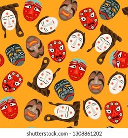 Wooden Hahoe masks (Hahoetal). Traditional ritual Korean mask dance. Seamless background pattern. Vector illustration