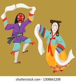 Wooden Hahoe masks (Hahoetal). Traditional ritual Korean mask dance. Vector illustration