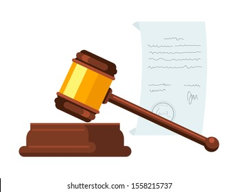 Wooden hammer, gavel flat vector illustration. Judge, magistrate instrument. Court trial, legal authority, judicial system, bidding decorative symbol. Courtroom, auction accessory. Small mallet