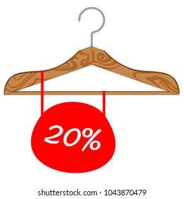 """wooden hanger with the inscription """"sale"""""""