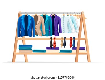 Wooden hanger rack with male classic clothes and necktie. Official style outfit. Flat style vector illustration isolated on white background.