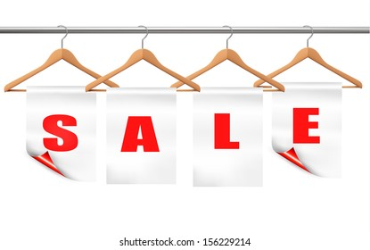Wooden hangers with sale tags. Discount concept. Vector.