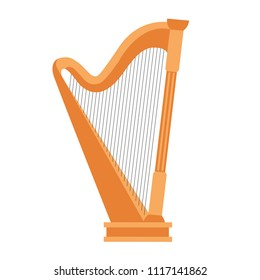 Wooden harp on white background. Classical string musical instrument. Cute flat cartoon style. Harp icon. Vector illustration