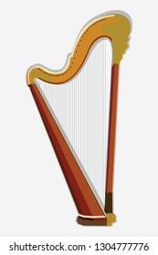 Wooden harp vector illustration. Classical string musical instrument. Harp icon.