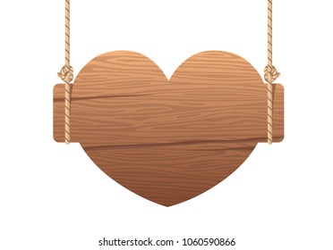 Wooden heart singboard hanging on ropes. Signboard wood with rope. illustration