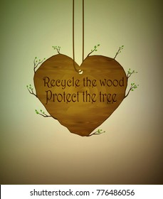 wooden heart with sprouts hanging on the rope with nest the bird,  save the forest concept, recycle the wood protect the bird,