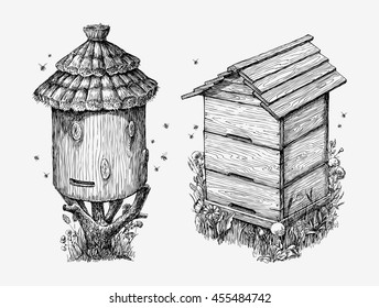 Wooden hives. Hand drawn sketch beekeeping, honey, bees. Vector illustration