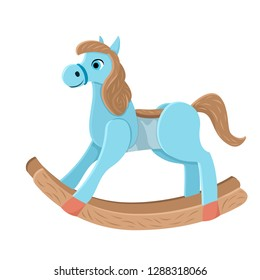 Wooden horse. Children's toy blue swinging horse. Cowboy boys toy. Vector isolated illustration on white background.