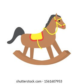 wooden horse cute baby toy isolated icon vector illustration design
