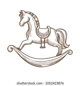 Wooden horse in saddle swing for little children
