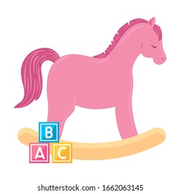 wooden horse toy pink with cubes toy isolated icon vector illustration design