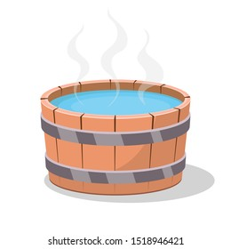 Wooden hot tub vector design illustration isolated on white background