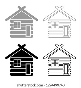Wooden house Barn with wood Modular log cabins Wood cabin modular homes icon set grey black color vector illustration outline flat style simple image