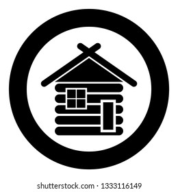 Wooden house Barn with wood Modular log cabins Wood cabin modular homes icon black color vector in circle round illustration flat style simple image